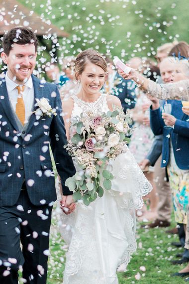Confetti Moment | Bride in Sottero & Midgley Gown | Groom in Moss Bros Suit | Romantic Pastel Wedding at Prested Hall, Essex | Kathryn Hopkins Photography | Sugar Lens Productions