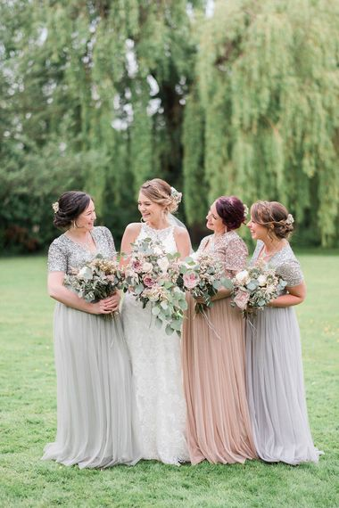 Bridesmaids in Pastel Sequin & Tulle Maya Dresses from ASOS | Romantic Pastel Wedding at Prested Hall, Essex | Kathryn Hopkins Photography | Sugar Lens Productions