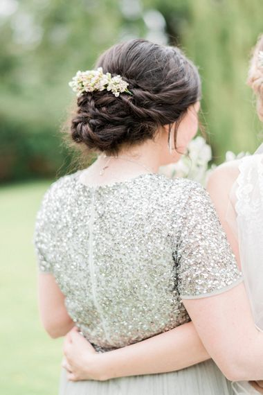 Bridesmaid Up Do | Bridesmaid in Green Sequin & Tulle Maya Dress from ASOS | Romantic Pastel Wedding at Prested Hall, Essex | Kathryn Hopkins Photography | Sugar Lens Productions