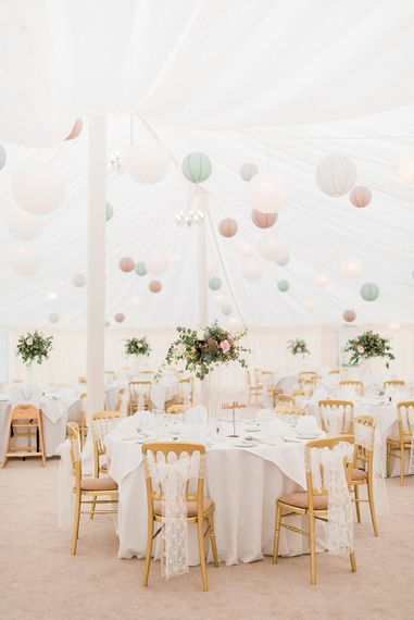 Lantern Filled Marquee Reception | Romantic Pastel Wedding at Prested Hall, Essex | Kathryn Hopkins Photography | Sugar Lens Productions