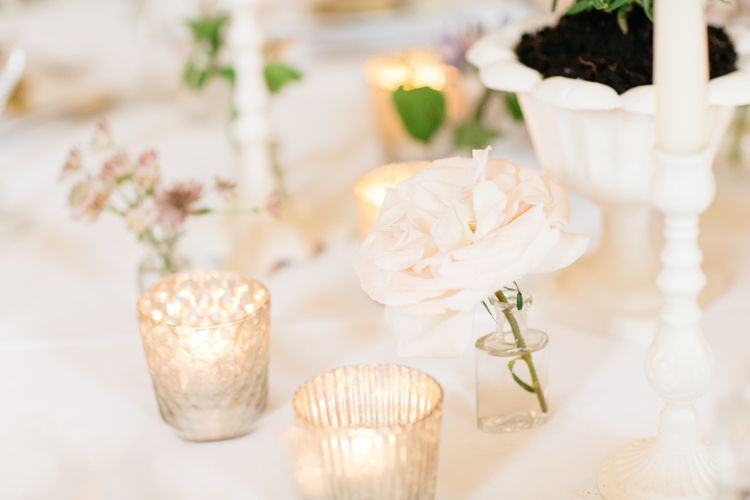 Almonry Barn Exclusive Hire Wedding Venue In Somerset With Pastel Flowers & Fairy Lights Images From Bowtie and Belle Photography With Bride In Wtoo By Watters