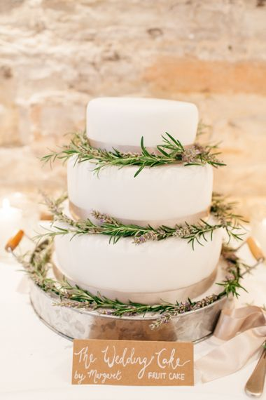 White Wedding Cake With Herbs