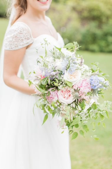 Pastel Summer Wedding Bouquet With Pale Pink Roses