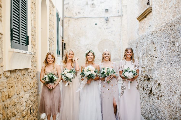 Bridesmaids in Different Embellished Bridesmaid Dresses | Bride in Watters Gown | Chris Barber Photography