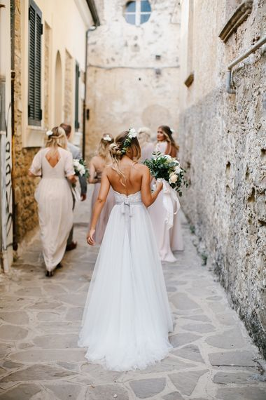 Bride in Watters Gown | Bridesmaids in Different Embellished Bridesmaid Dresses | Chris Barber Photography