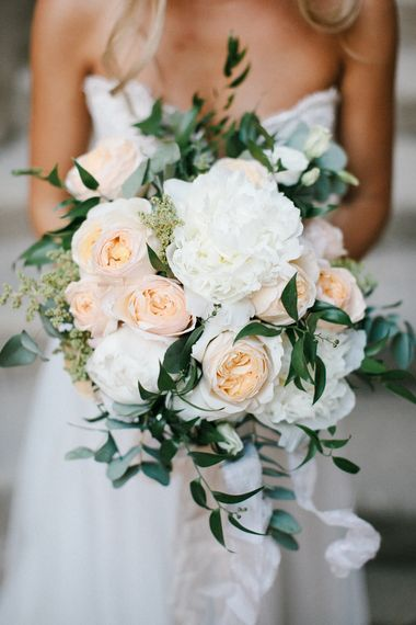 Peach & White Wedding Bouquet | Chris Barber Photography