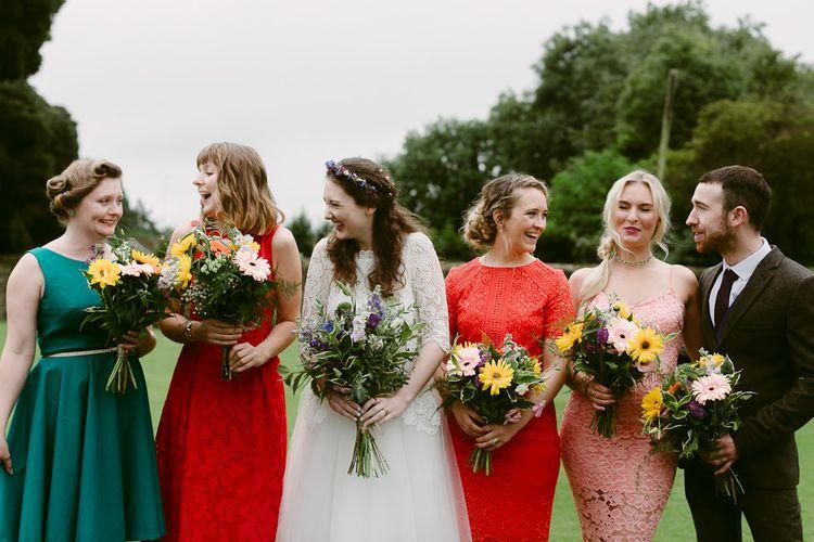 Bridesmaids in Bright Mis-Match Dresses