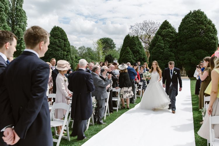 Bridal Entrance in Pronovias Gown | Elegant Notley Abbey Wedding | Natalie J Weddings Photography
