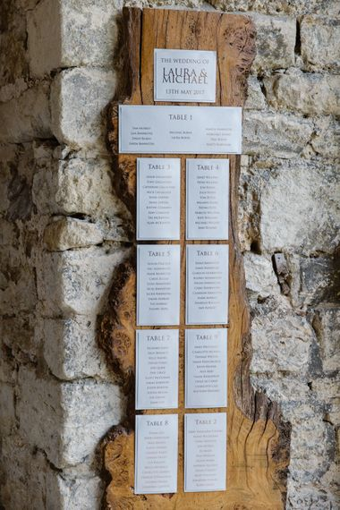 Wooden Plaque Table Plan | Elegant Notley Abbey Wedding | Natalie J Weddings Photography