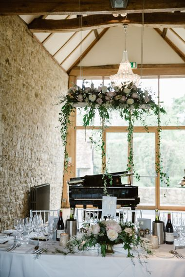 Top Table Hanging Floral Installation | Elegant Notley Abbey Wedding | Natalie J Weddings Photography