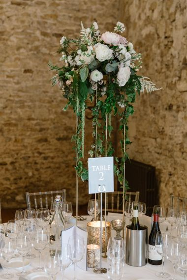 Tall Floral Centrepiece | Elegant Notley Abbey Wedding | Natalie J Weddings Photography