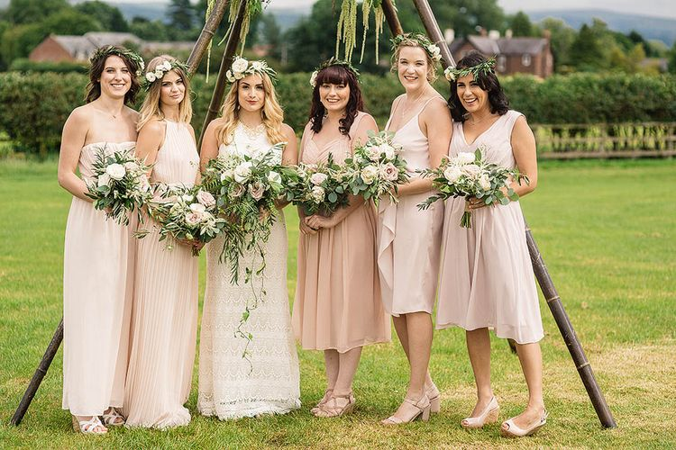 Bridesmaids in Mis-Match Pink Dresses from the Highstreet