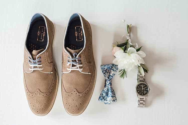 Grooms Accessories | Ted Baker Shoes | Mrs Bowtie Tie | Hugo Boss Watch | Marble, Copper & Greenery Wedding at Cripps Barn Cotswolds | Summer Lily Studio Photography