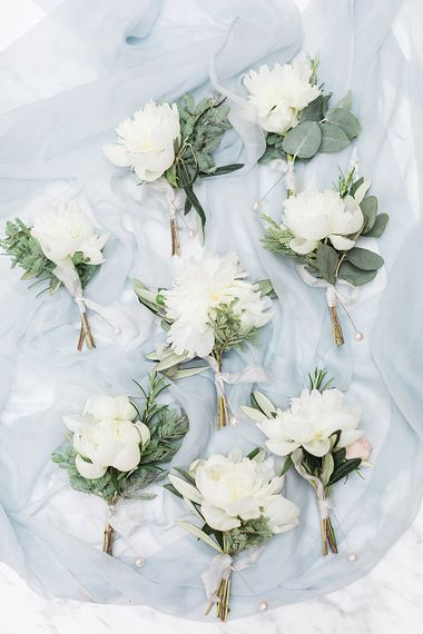 White Flower Buttonholes | Marble, Copper & Greenery Wedding at Cripps Barn Cotswolds | Summer Lily Studio Photography