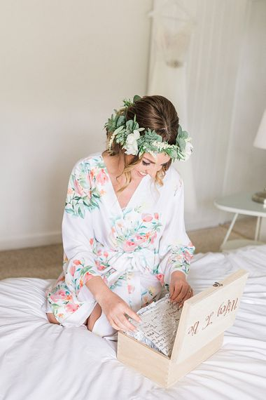 Wedding Morning Bridal Preparations | Flower Crown & Pastel Bouquet | Marble, Copper & Greenery Wedding at Cripps Barn Cotswolds | Summer Lily Studio Photography