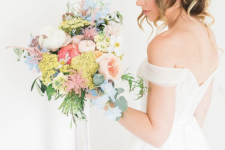 Pastel Bridal Bouquet | Marble, Copper & Greenery Wedding at Cripps Barn Cotswolds | Summer Lily Studio Photography