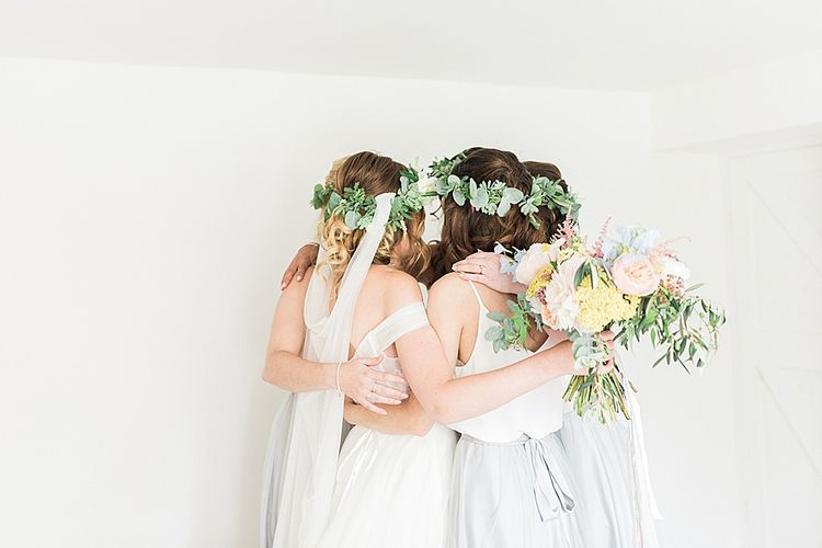 Bride in Wtoo by Watters Gown | Bridesmaids in Separates | Marble, Copper & Greenery Wedding at Cripps Barn Cotswolds | Summer Lily Studio Photography