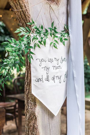 Inspirational Flag Quote Wedding Decor | Marble, Copper & Greenery Wedding at Cripps Barn Cotswolds | Summer Lily Studio Photography