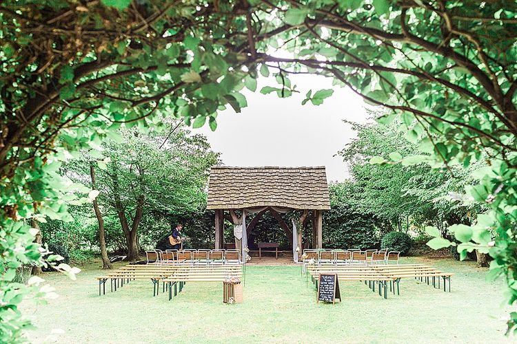 Outdoor Arbour Wedding Ceremony | Marble, Copper & Greenery Wedding at Cripps Barn Cotswolds | Summer Lily Studio Photography