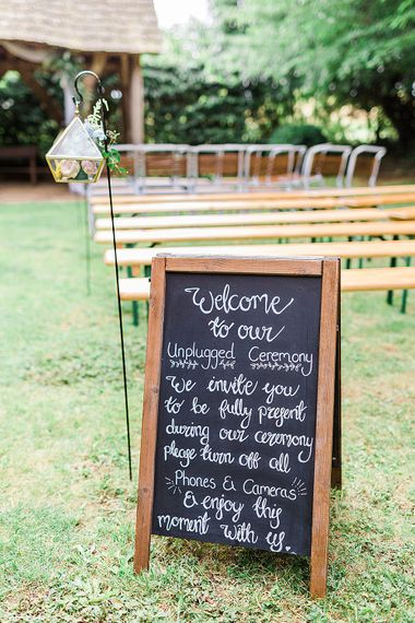 Unplugged Chalkboard Wedding Sign | Marble, Copper & Greenery Wedding at Cripps Barn Cotswolds | Summer Lily Studio Photography