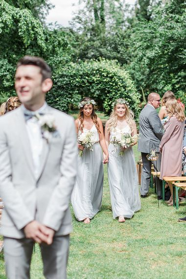 Outdoor Wedding Ceremony | Bridesmaids in Grey Skirts & White Tops | Outdoor Wedding Ceremony Bride in Heaton Wtoo by Watters Gown | Groom in ASOS Suit | Marble, Copper & Greenery Wedding at Cripps Barn Cotswolds | Summer Lily Studio Photography