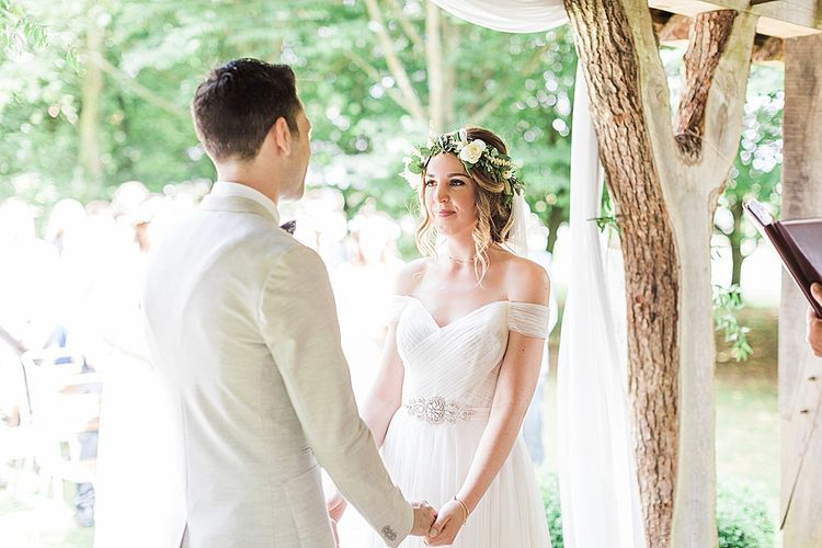 Outdoor Wedding Ceremony Bride in Heaton Wtoo by Watters Gown | Groom in ASOS Suit | Marble, Copper & Greenery Wedding at Cripps Barn Cotswolds | Summer Lily Studio Photography