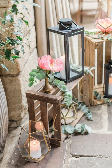 Wooden Crates, Lanterns, Eucalyptus & Peony Wedding Decor | Marble, Copper & Greenery Wedding at Cripps Barn Cotswolds | Summer Lily Studio Photography