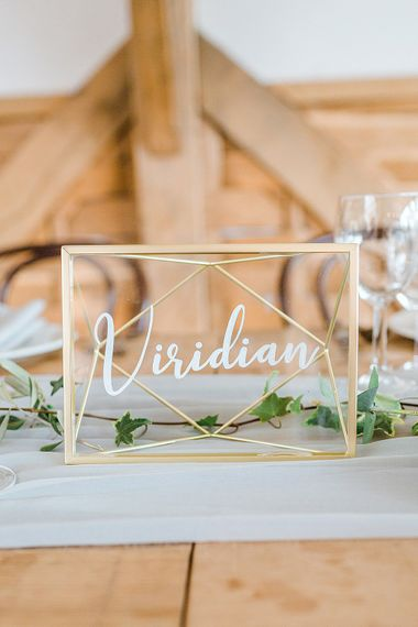 Geometric Table Name | Marble, Copper & Greenery Wedding at Cripps Barn Cotswolds | Summer Lily Studio Photography