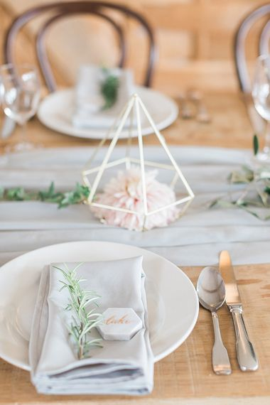 Marble Name Place Setting | Marble, Copper & Greenery Wedding at Cripps Barn Cotswolds | Summer Lily Studio Photography