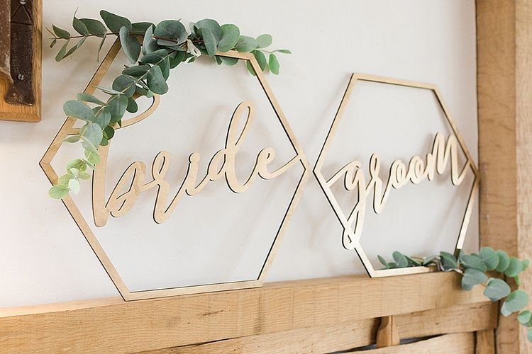 Geometric Bride & Groom Signs | Marble, Copper & Greenery Wedding at Cripps Barn Cotswolds | Summer Lily Studio Photography