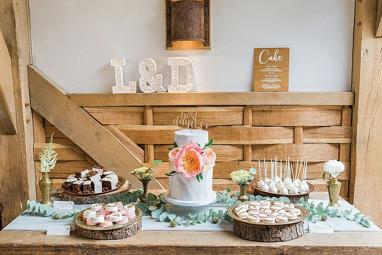 Dessert Table with Marble Wedding Cake | Marble, Copper & Greenery Wedding at Cripps Barn Cotswolds | Summer Lily Studio Photography