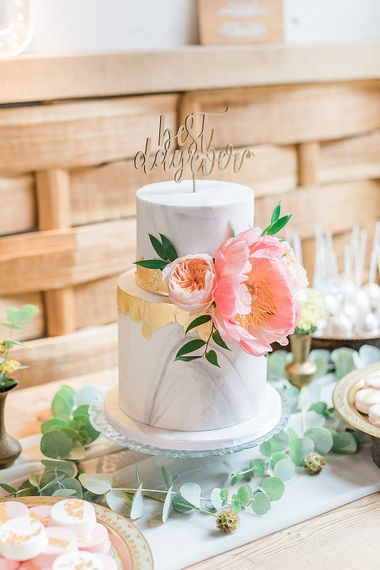 Marble Wedding Cake with Gold Leaf Decor & Peony Topper | Marble, Copper & Greenery Wedding at Cripps Barn Cotswolds | Summer Lily Studio Photography
