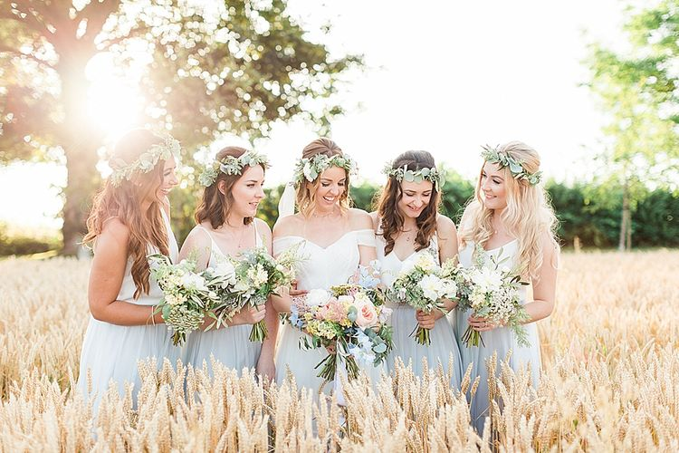 Bride in Heaton Wtoo by Watters Gown | Bridesmaid in Grey Tulle Skirts & White Cami Separates | Marble, Copper & Greenery Wedding at Cripps Barn Cotswolds | Summer Lily Studio Photography
