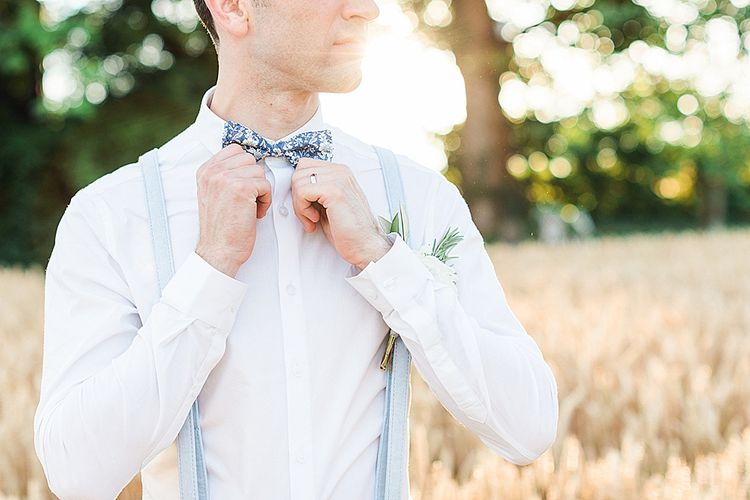 Groom in ASOS Suit & Mrs Bowtie Tie | Marble, Copper & Greenery Wedding at Cripps Barn Cotswolds | Summer Lily Studio Photography