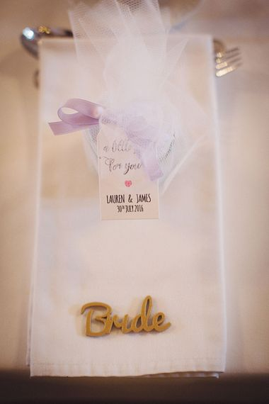 Wedding Place Setting With Favour Bag