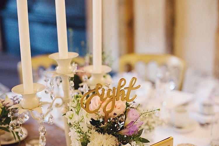 Pastel Wedding Centrepiece with White Candlabra