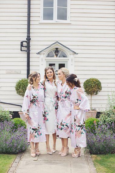 Bride & Bridesmaids In Floral Robes