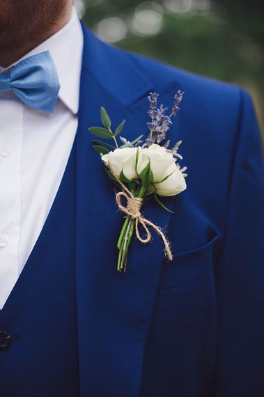 Navy Suit With White Buttonhole