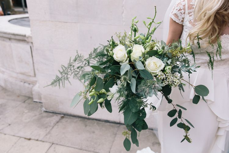 Green & White Bouquet | Bride in Alice Temperley Bluebell Gown | Stylish London Wedding | Eclection Photography