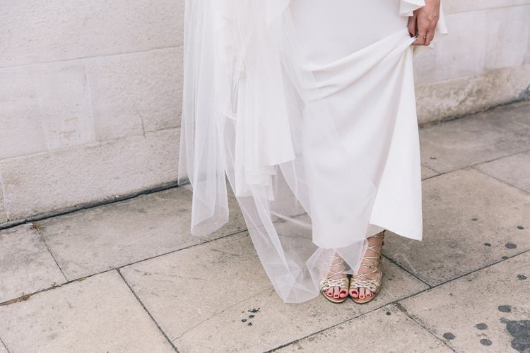 L.K Bennett Lasercut Silver Shoes | Bride in Alice Temperley Bluebell Gown | Stylish London Wedding | Eclection Photography