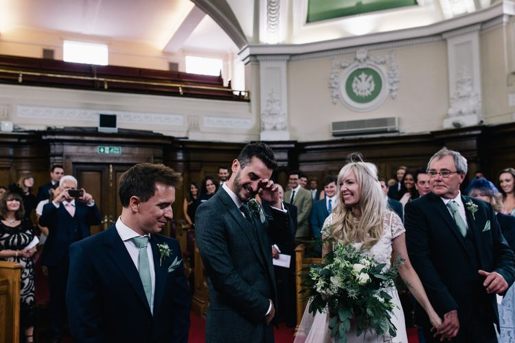 Wedding Ceremony | Bride in Alice Temperley Bluebell Gown | Groom in Reiss Suit | Stylish London Wedding | Eclection Photography