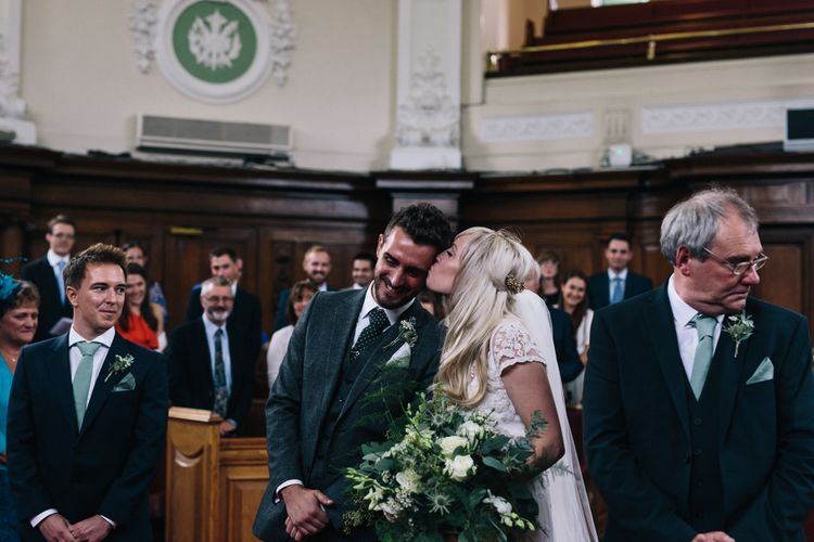 Ceremony | Bride in Alice Temperley Bluebell Gown | Groom in Reiss Suit | Stylish London Wedding | Eclection Photography