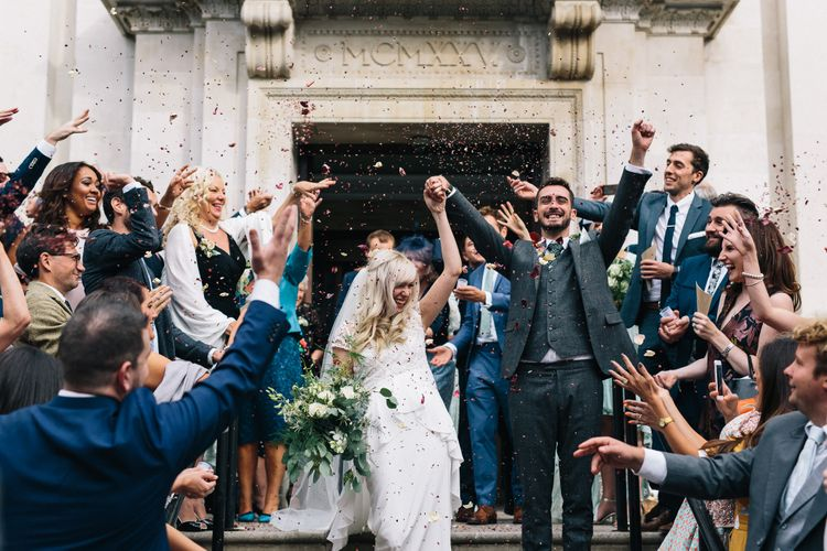 Confetti Moment | Bride in Alice Temperley Bluebell Gown | Groom in Reiss Suit | Stylish London Wedding | Eclection Photography