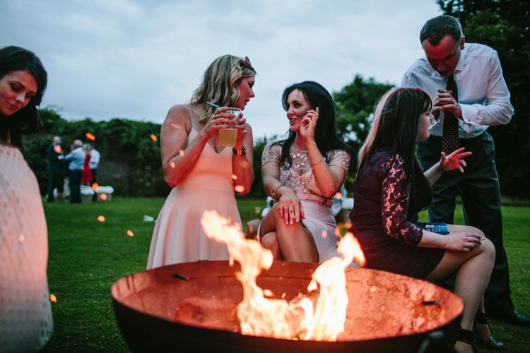Fire Pit At Tipi Wedding