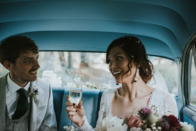 Vintage car | Boho Bride in Dreamers and Lovers Dress | Images by Louise Scott