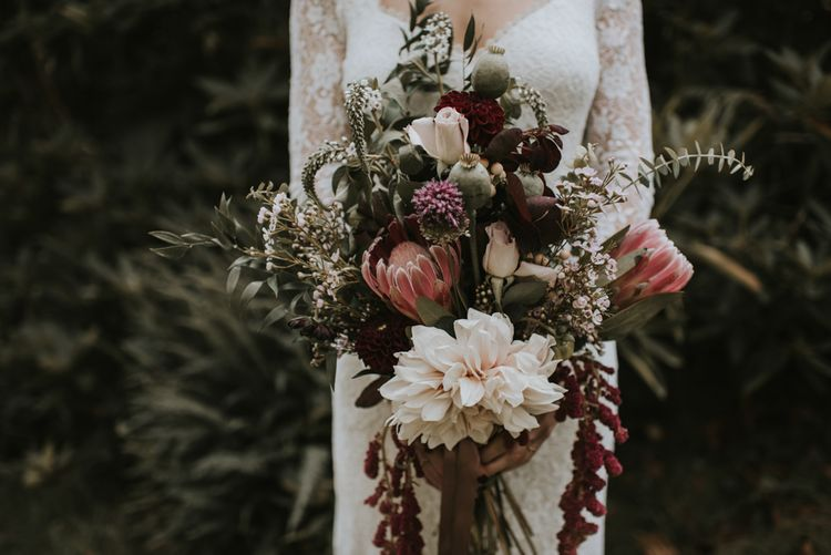 The Hyde Estate West Sussex | Florals | Boho Bride in Dreamers and Lovers Dress | Images by Louise Scott