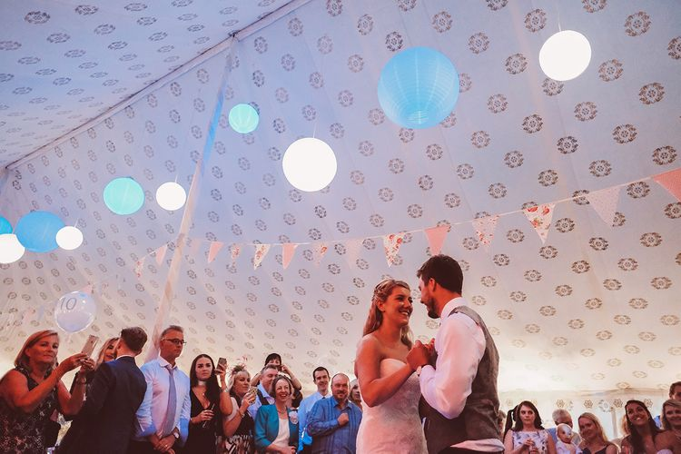 First Dance | Bride in Lace Dress from Isabella Grace Bridal Boutique | Groom in Victor Valentine Suit | Lemonade Pictures