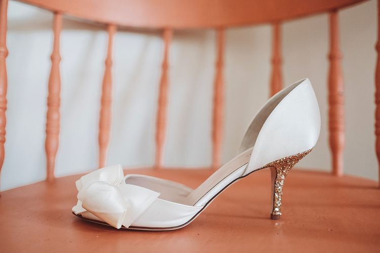 Kate Spade Peep Toe Wedding Shoes with Glitter Heels | Lemonade Pictures