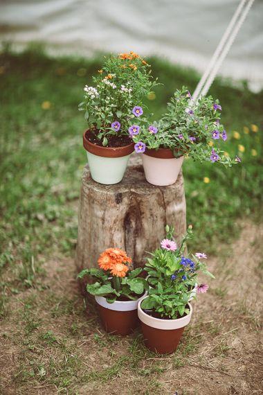 Rustic DIY Painted Plant Pots Wedding Decor | Lemonade Pictures