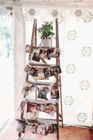 Step Ladder Polaroid Decor | Marquee Reception at Wise Wedding Venue in Kent | Lemonade Pictures